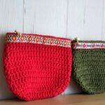 かぎ編みで編むチロリアンテープの春色ポーチ