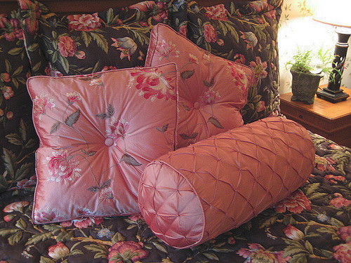 Coral Silk Pillows