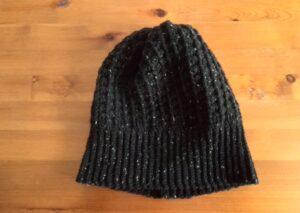 引き上げ編みの棒針編み風ニット帽