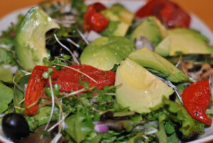 Avocado, black olive and sundried tomato salad